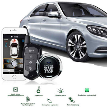 Universal Car Alarm System Remote Start Keyless Entry Auto Central Locking Theft Trunk PKE with Start Stop Button 2Remote contro pke car alarm system push button start remote start engine with password keyboard auto lock