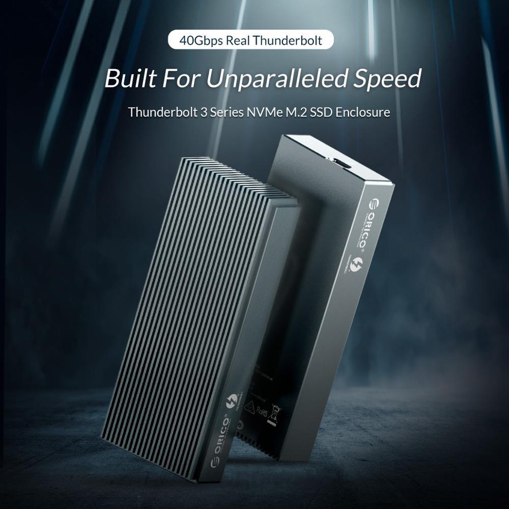 Image 2 - ORICO Thunderbolt 3 NVME M.2 obudowa SSD wsparcie 40 gb/s 2TB aluminium USB C z Thunderbolt 3 C do C kabel do laptopa pulpitObudowa dysku twardego   -