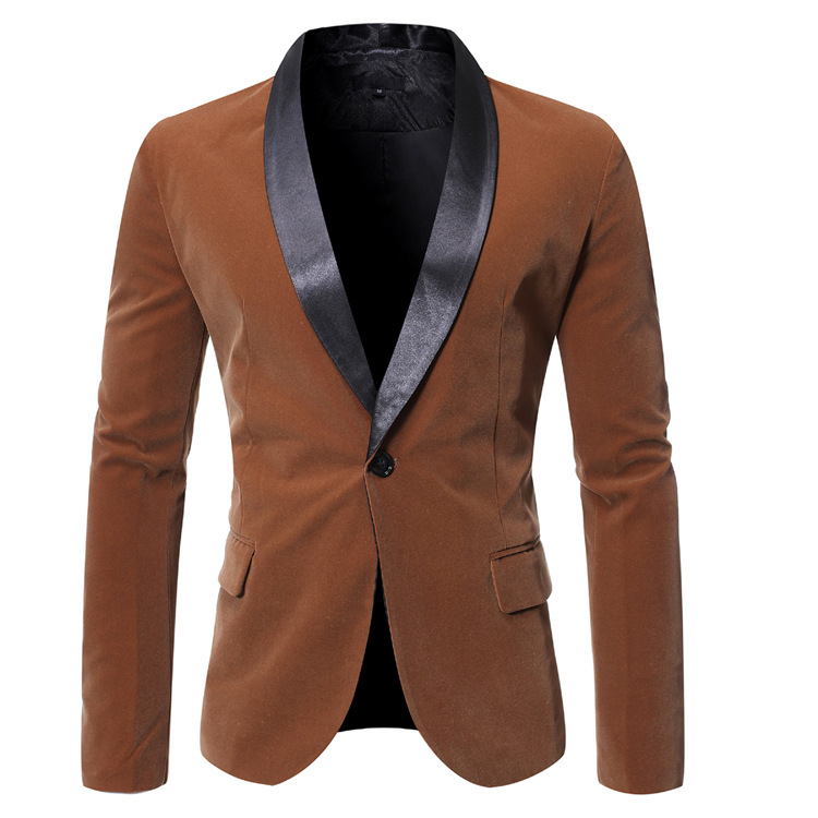 2019 New Products One-Piece Men Trend Casual Tops Shawl Collar One-Button Suit Coat 9773