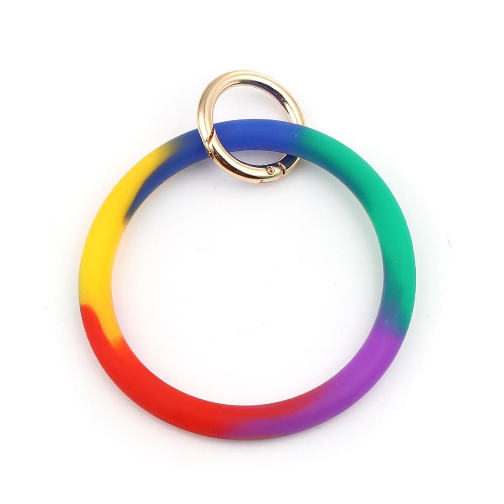 DoreenBeads Fashion Silicone Keychain & Keyring For Men Women Gold Multicolor Circle Ring Accessories DIY 11.5mm x 9cm, 1 PC