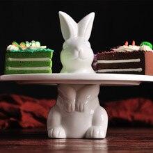 Керамический десертный поднос Новинка Кролик Торт Дисплей Стенд кекс стенд Фигурка декоративная керамика Банни Органайзер
