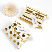 10pcs promotion Pillow Shape kraft jewelry candy Box craft paper Wedding Favor Gift Boxes pie Party bags eco friendly