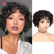 Wignee curto encaracolado perucas de cabelo humano com franja para mulheres negras 150% densidade remy brasileiro curto encaracolado onda perucas de cabelo humano