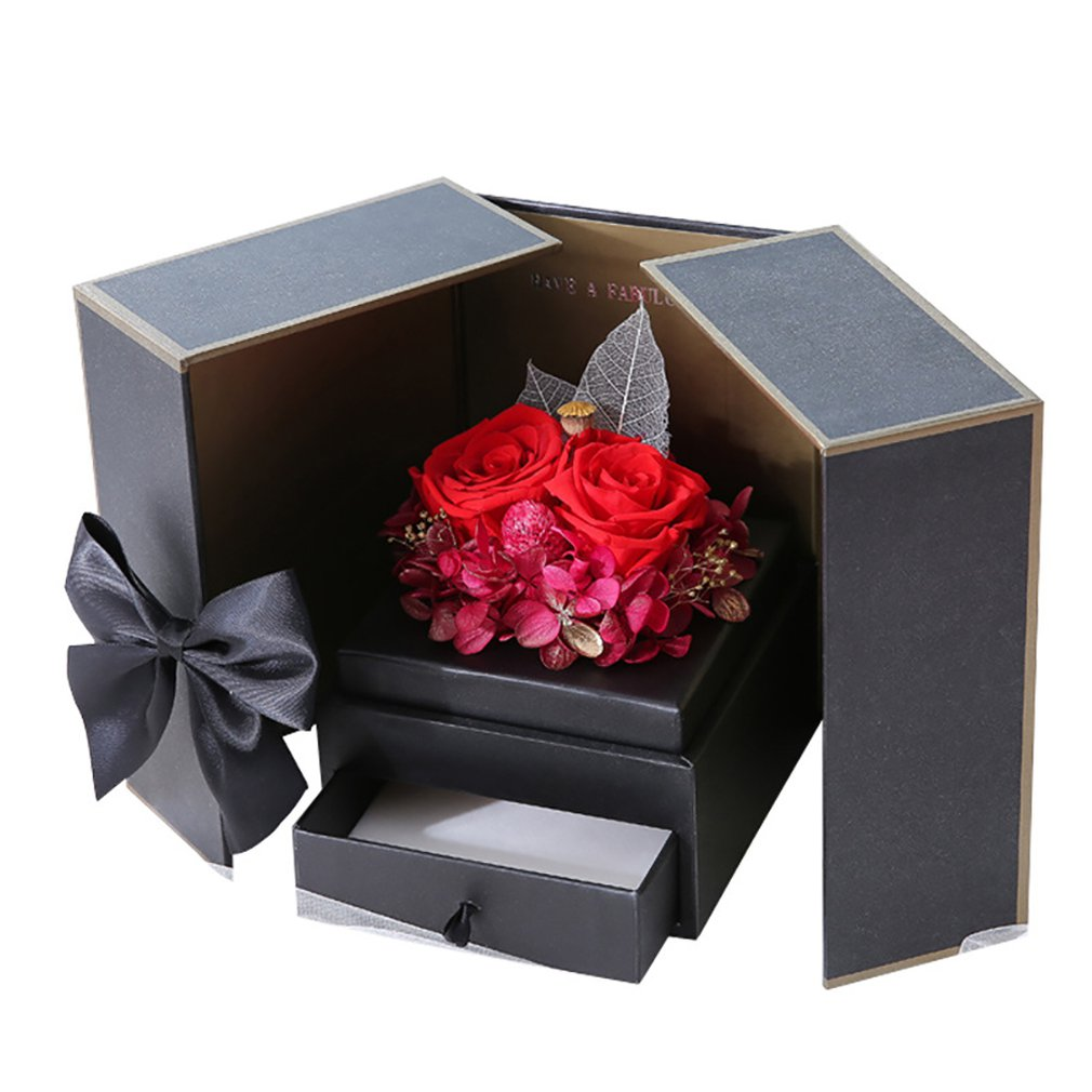 Permanent Pollen Box Rose The Symbol Of Love Immortal Flower Double Door Making Holiday Decorations 1 Box Hot