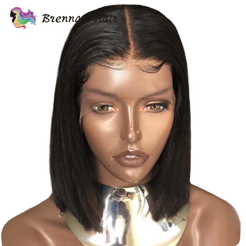 Straight Short Bob Wig Lace Front Human Hair Wigs Pre Plucked 13*6 Lace Wig Brazilian Human Hair Frontal Wig Non Remy Hair 8-16'