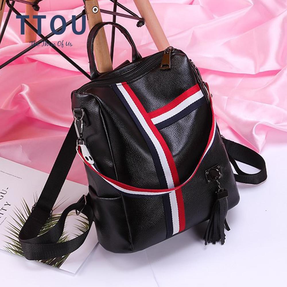 2020 New Women Bags Retro Fashion Zipper Ladies Backpack PU Leather High Quality School Bag Anti-theft Shoulder Backpacks