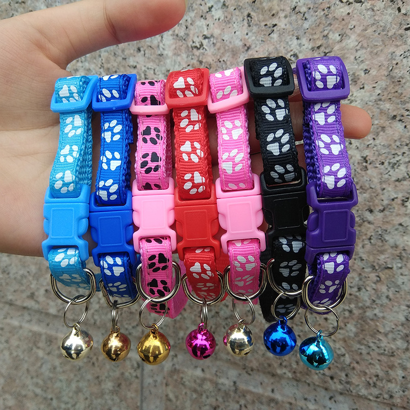 1.0 Applique Bell Neck Ring Dog Traction Excellent Cai Kou Footprints Neck Ring Synthesis Pet Collar