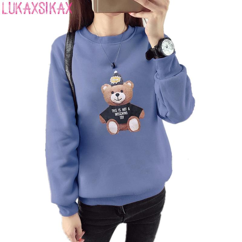 2019 New Autumn Winter Women Sweatshirt Korean Style Cute Bear Print Student Sweatshirt Warm Velour Tracksuit Pullover Women
