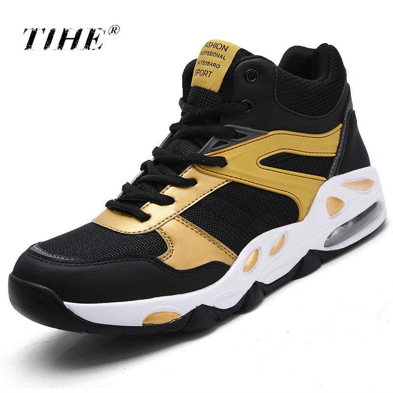 2019 High top Basketball Shoes Men's Air Cushioning Light Basketball Sneakers Men Zapatos Hombre Breathable Outdoor Sports Shoes|Basketball Shoes|Sports & Entertainment - title=
