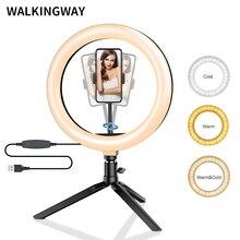 "10 ""LED 링 라이트 26cm 사진 조명 Dimmable Selfie RGB 램프 삼각대 메이크업 유튜브 Tiktok 전화 카메라 비디오"