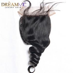 Image 2 - ברזילאי גוף גל משי בסיס סגירת משי למעלה סגר עם תינוק שיער נסתרת קשרים שיער טבעי סגירת Dreamme רמי שיער