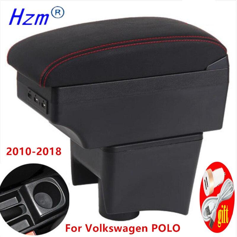 Для Защитные чехлы для сидений, сшитые специально для Volkswagen POLO подлокотник 2010-2018 217 2016 2015 2014 2013 новый для VW POLO Mk5 6R Vento автомобильный подлокотн...