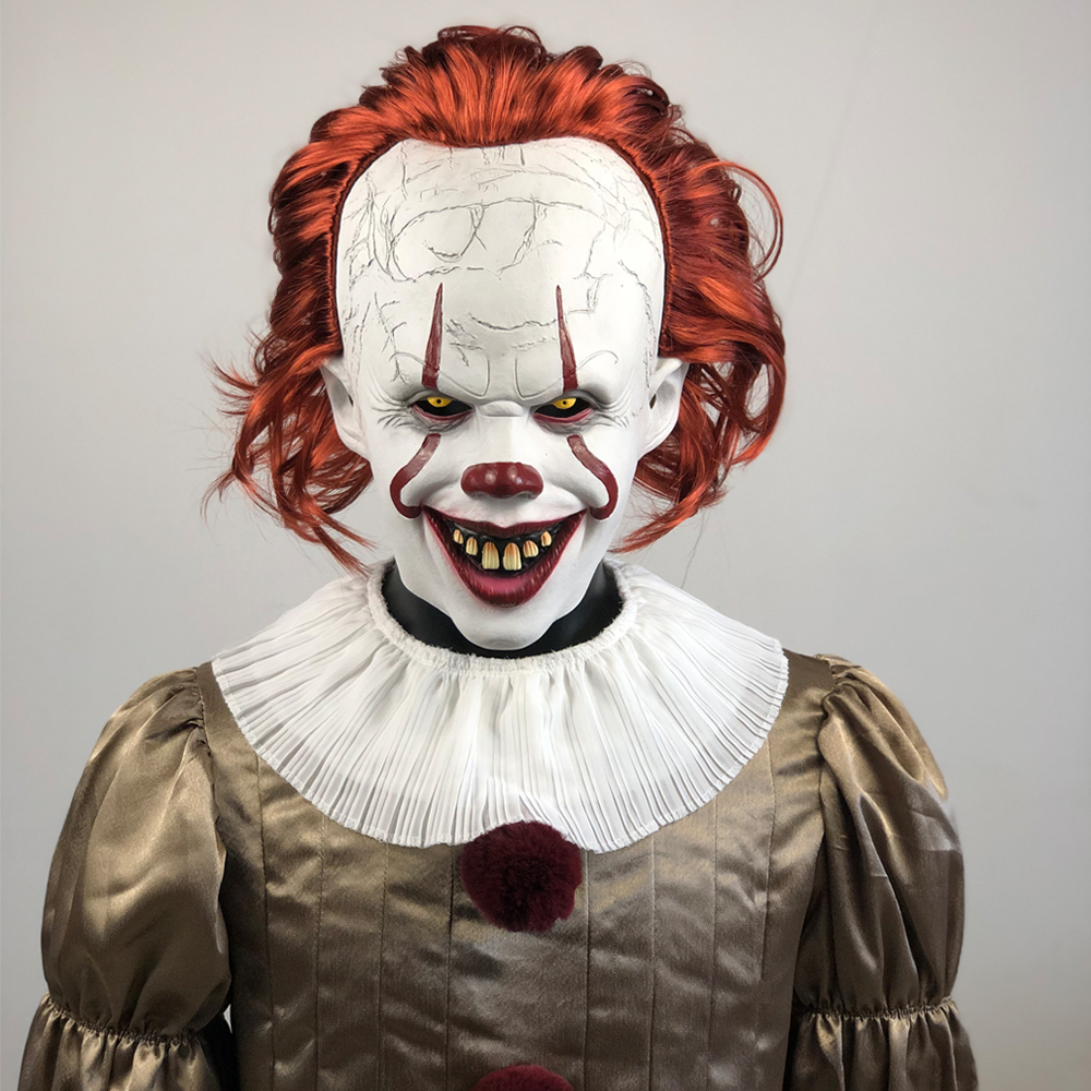 Joker Pennywise Cosplay Costume Mask Stephen King It Chapter Two 2 Horror Clown Halloween Party Costume Prop 2019 Deluxe