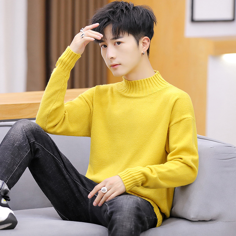 Long Sleeves Winter Men Sweater White Yellow Gray Black Blue Red Pink Pullovers Turtleneck Casual Solid Mens Sweaters