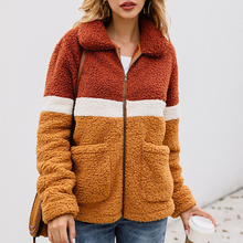 Autumn Winter Zipper Women Jacket Faux Lambswool Pocket Plus Size Womens Jackets And Coats Hairy Loose Outerwear Coat 2019