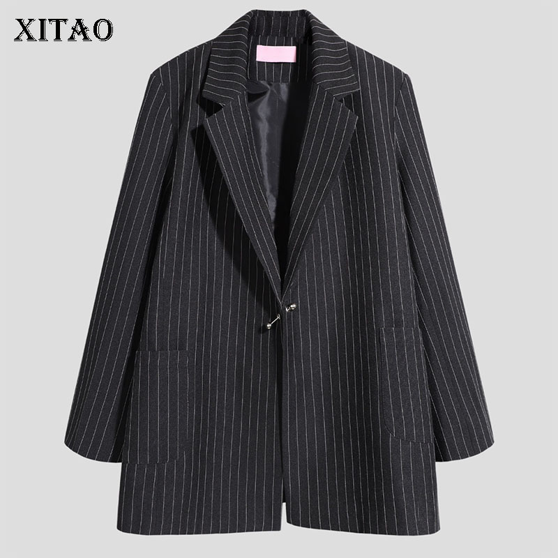 XITAO Striped Vintage Blazer Women Fashion New 2019 Autumn Single Breast Pocket Elegant Minority Casual Sheath Coat WLD2590