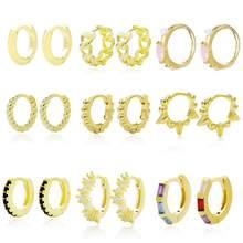 Slovecabin – boucles d'oreilles créoles Huggie, Piercing avec cristal de Zircon clair, argent Sterling 925, bijoux fins pour femmes européennes, nouveaux Types