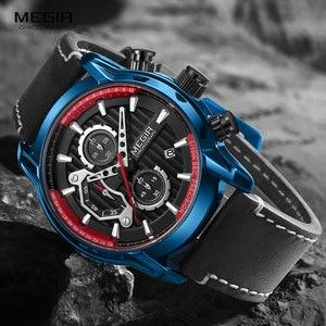 Image 2 - MEGIR lüks Chronograph kuvars saatler erkekler üst marka deri kol saati adam su geçirmez ışık askeri spor İzle saat 2104