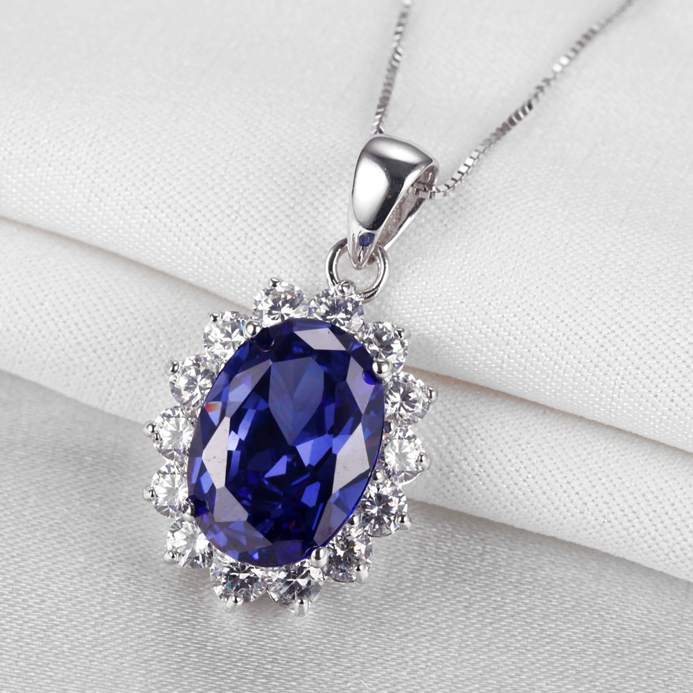 Blue Oval Cubic Zirconia 925 Sterling Silver Ring and Pendant with Necklace Set