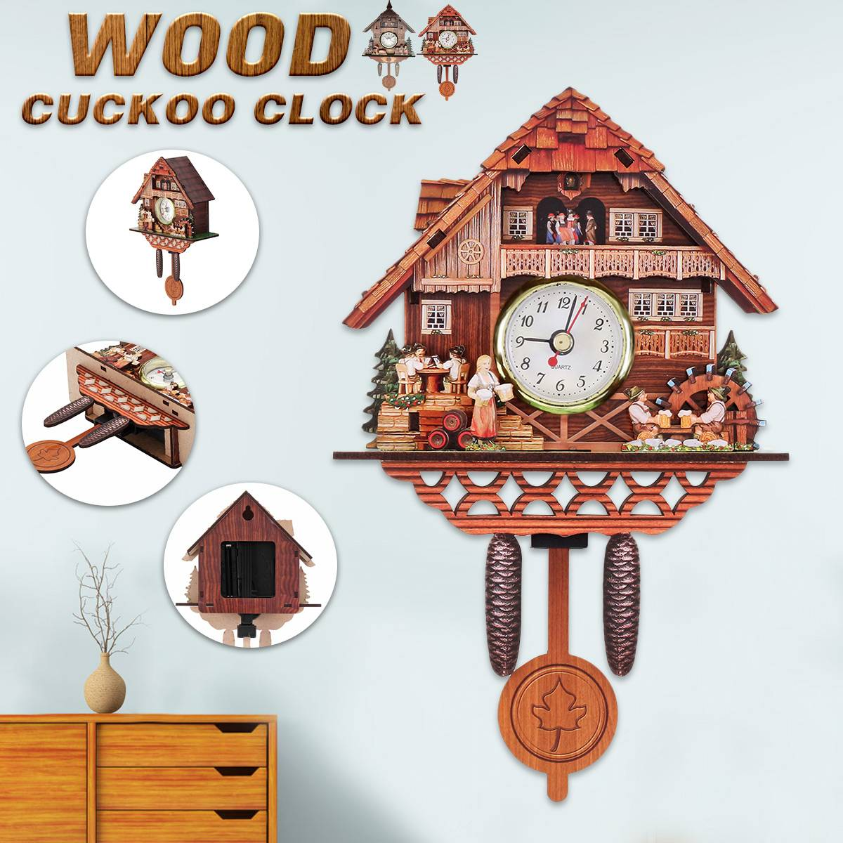 Cuckoo Clock Mount Wooden Wall Clock Alarm Clock Hanging Time Analog Auto Swinging Clock  Pendulum Home Decorations