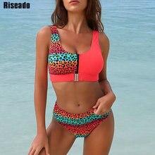 11€ Bikini Sexy Riseado, traje de baño de leopardo, 2020, nuevo de retazos, bañador, Bikini Push Up para Mujer, Bikinis estampados, ropa de playa para nadar