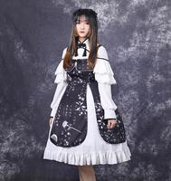 Chinese style antiquity han element sweet lolita dress vintage lace bowknot printing high waist victorian dress kawaii girl cos