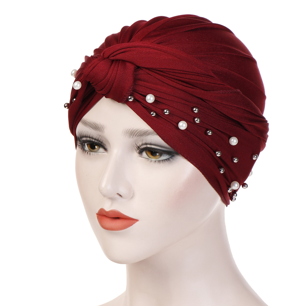 Fashion Indian Muslim Hijab Islamic Beaded Cap Stretchy Pleated Turban Hat Knot Head Wrap Elastic Hair Accessories Women