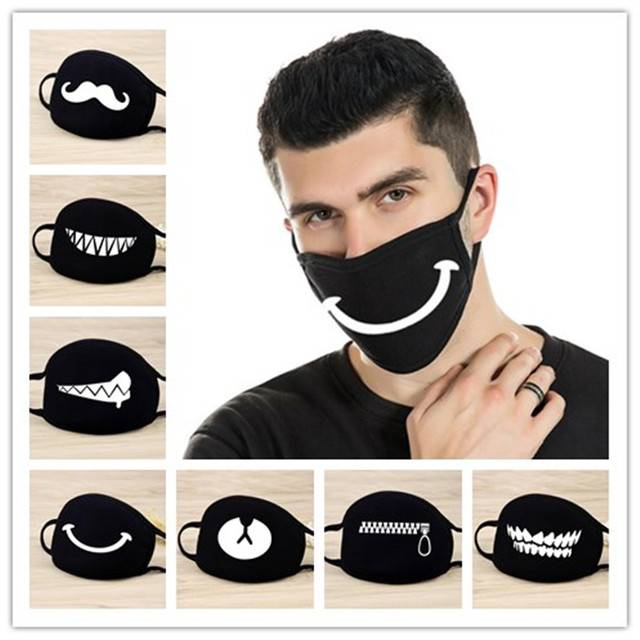 1pcs Mouth Face Mask Kawaii Black Cotton mascarilla High Quality Cartoon Halloween cosplay Mask Party Supplies-S