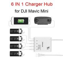 6 in 1 akıllı çoklu şarj DJI Mavic Mini Drone pili şarj göbeği hızlı akıllı pil şarj cihazı USB portu ile