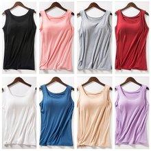 Verão das mulheres 2021 novo tanque tops camisa roupa interior modal plus size feminino camisa camisola blusa sutiã embutido