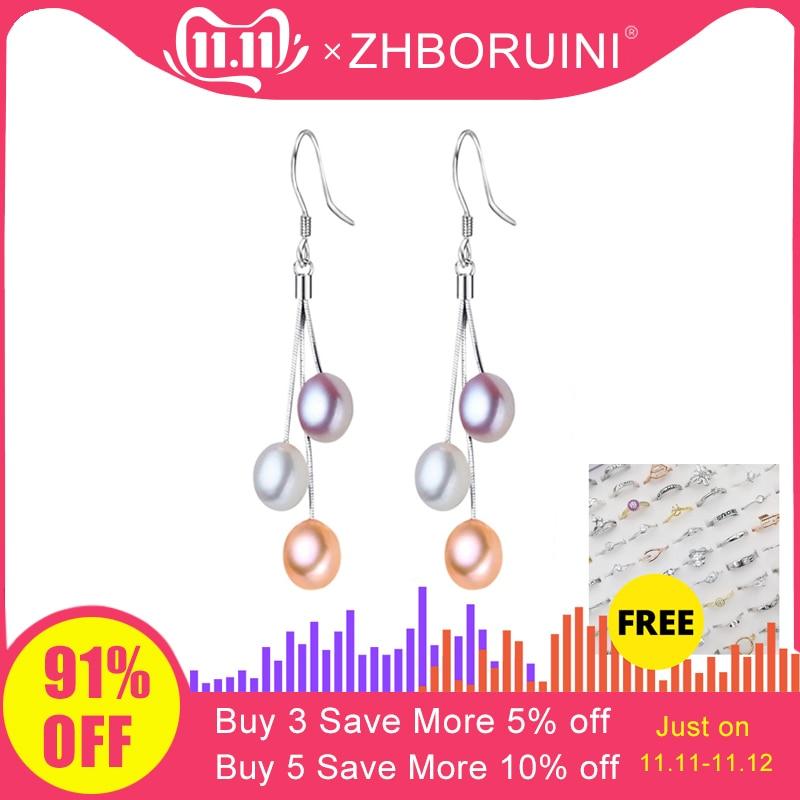 ZHBORUINI 2019 Pearl Earrings Natural Freshwater Pearl Tassels Pearl Jewelry Drop Earrings 925 Sterling Silver Jewelry For Woman