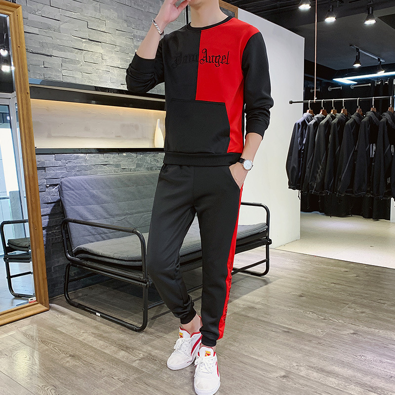 2019 Spring And Autumn Men's Coat Hoodie Suit Crew Neck Korean-style Trend Casual Sports Coat Trousers Set
