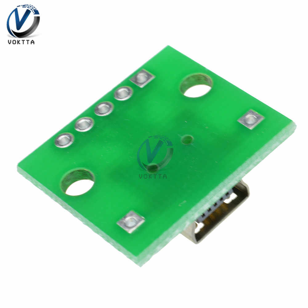 Mikro Mini USB Konektor Male USB 2.0 3.0 Female Konektor USB untuk 2.54 Mm DIP PCB Adaptor Converter Papan panel Modul