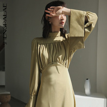 Woman Dress Stand-Collar Spring Pleated-Waist Long-Sleeve Casual SHENGPALAE Loose TV976