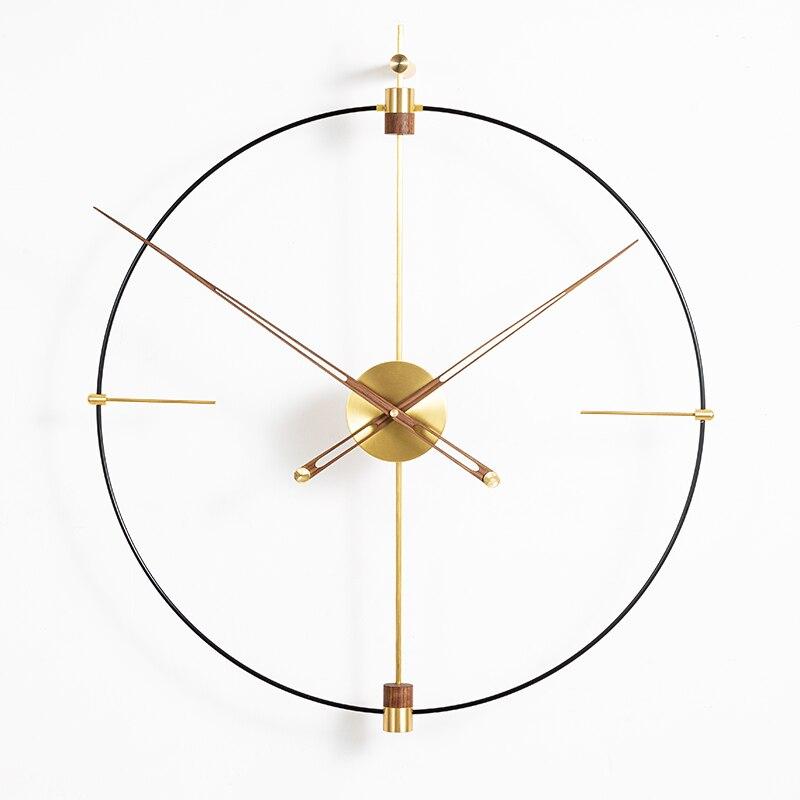 Grande relógio de parede diy design moderno nordic simples arte do ferro 3d decoração relógio de parede grandes dimensões relógios de parede de bronze decoração para casa 80x93 cm - 5