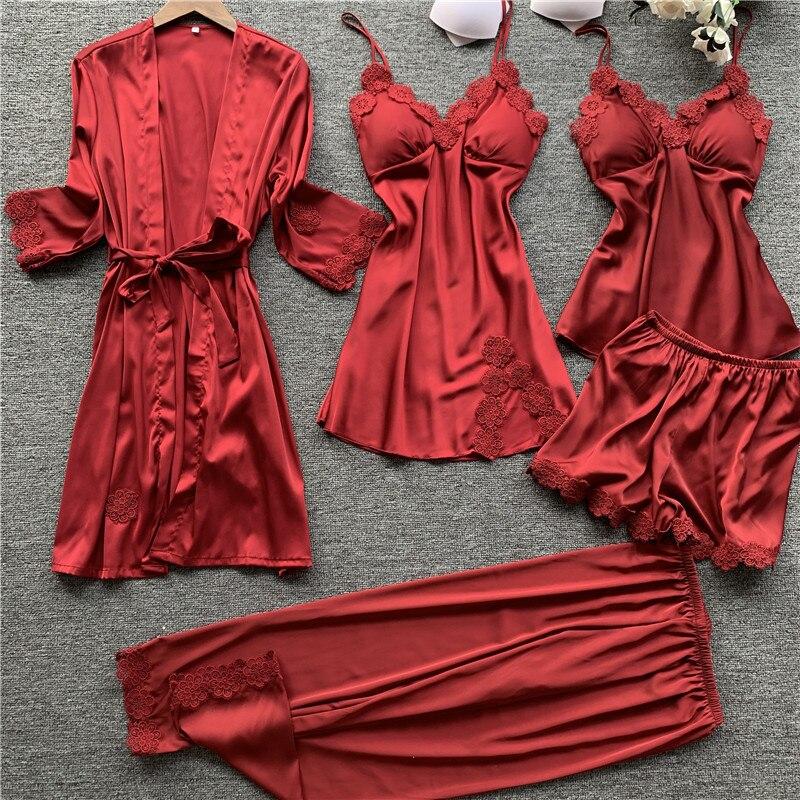 2020 Spring 5 Pieces Women Satin Silk Pajamas Sets Sleepwear Nightwear Pyjama Spaghetti Strap Sleep Lounge Pijama Chest Pads
