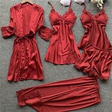 2020 Spring 5 Pieces Women Satin Silk Pajamas Sets Sleepwear Nightwear Pyjama Spaghetti Strap
