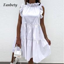 2021 Summer Elegant O-Neck Ruffle Sleeve Party Dress Women Sweet Solid Loose Doll Dress Lady Fashion Casual A-Line Mini Dress