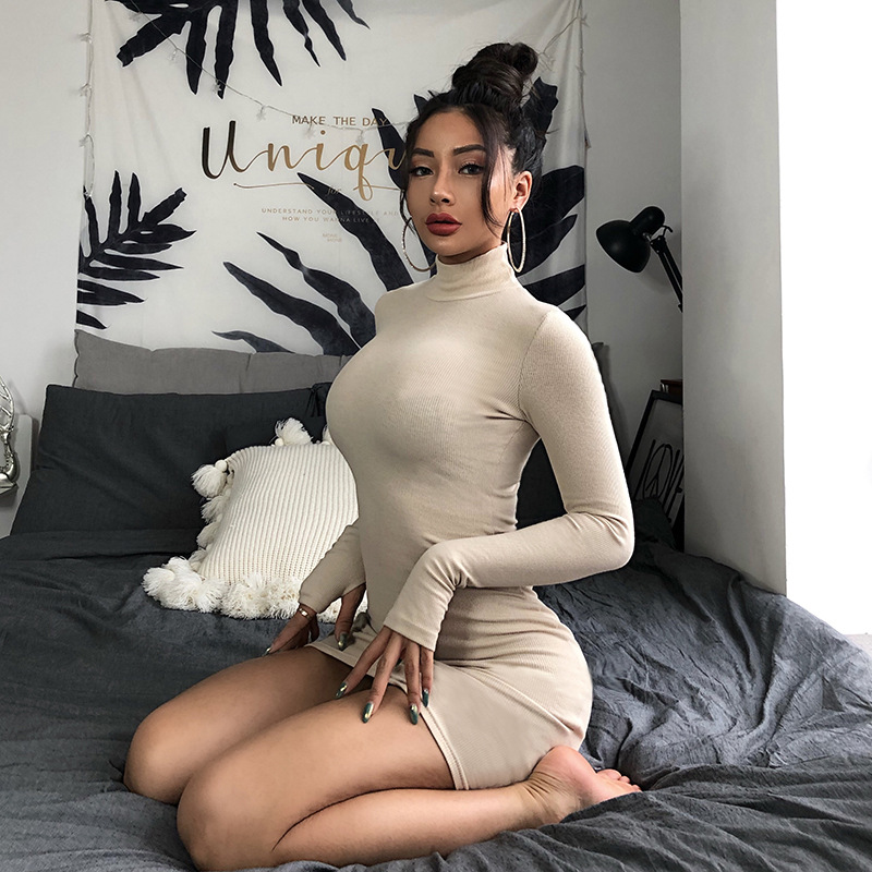 Cryptographic Ribbed turtleneck long sleeve winter dress women 19 fashion vestidos trend color slim sexy bodycon dresses 20