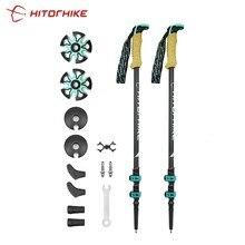 Palo de trekking, bastón de fibra de carbono externo telescópico, cierre rápido, telescópico, para marcha nórdica o caminar nórdico, muleta de senderismo, 195 gr/pieza