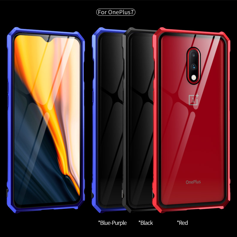Oneplus 7 Pro Case Oneplus 7 Cover Case Luxury Metal Aluminum Bumper & Tempered Glass Back Cover Phone Case For Oneplus 6T