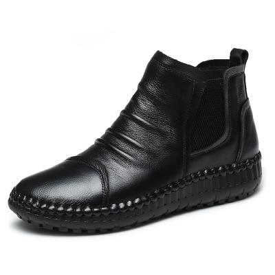 MVVJKE Botas planas de cuero genuino para mujer, zapatos informales Vintage, diseño de marca, Retro, hechos a mano, E006