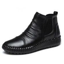 Mvvjke Mode Herfst Platte Laarzen Echt Leder Enkel Schoenen Vintage Casual Schoenen Brand Design Retro Handgemaakte Vrouwen Boot E006