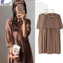Baumwolle Vintage Kleider Frauen Neue Beiläufige Nette Süße Adrette Korea Japan EINE Linie Peter Pan Kragen Plaid Shirt Kleid 9012