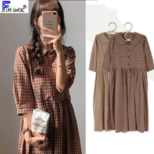 Cotton Vintage Dresses Women New Casual Cute Sweet Preppy Style Korea Japan A Line Peter Pan Collar Plaid Shirt Dress 9012