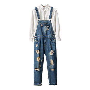 Men's Denim Overalls, Retro Denim Overalls, Ripped Beggar pants, Men's Nine-point lattice Suspenders, feet pants, Men's jeans raw hem denim overalls