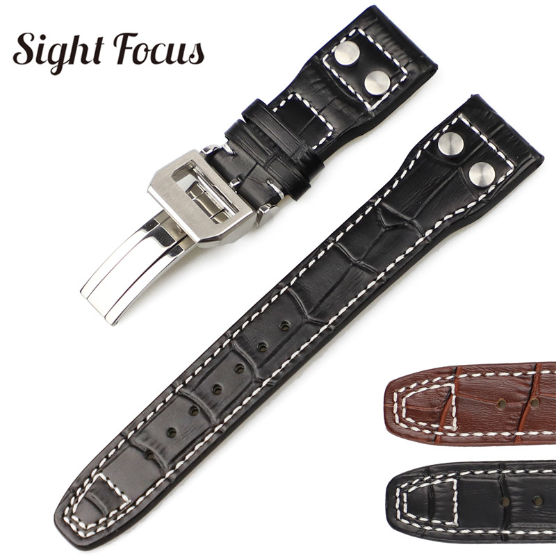 22mm Studded Genuine Leather Strap for IWC PILOT Mark 17 WATCHES Folding Buckle Croc Grain with Nail Watches Bands Accessories