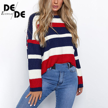 New Rainbow Stripes Women Sweater Winter Warm Knitted Loose Jumper Tops Fashion Color Block Pullovers Sweaters
