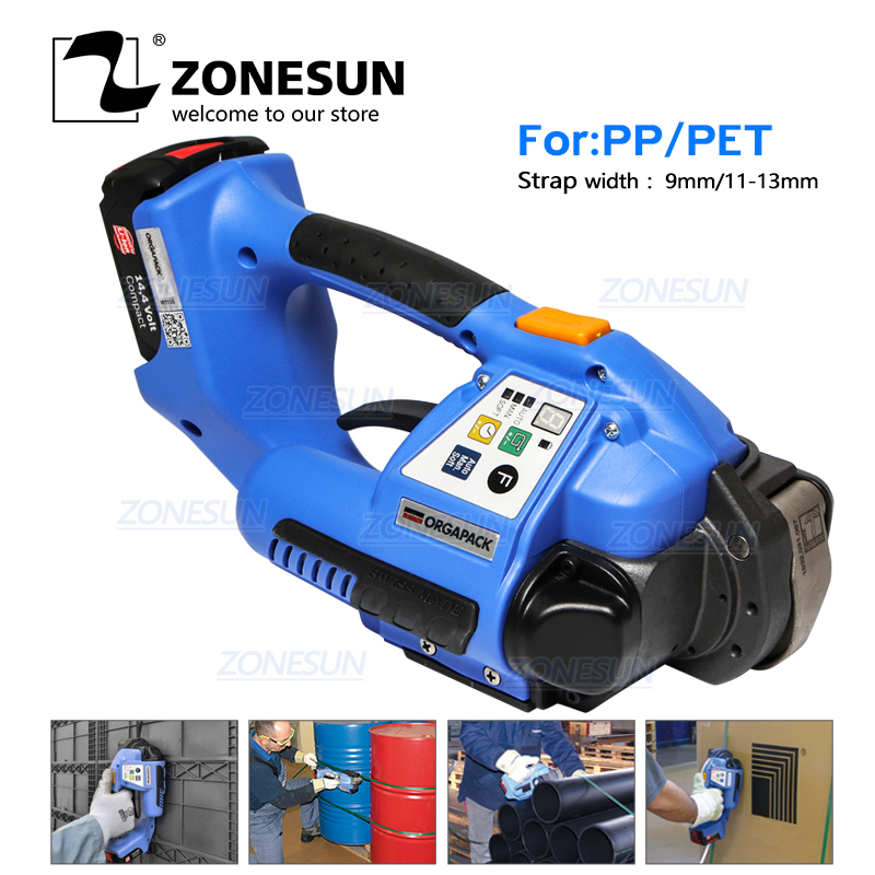 ZONESUN Hand Held Portable ORT 120 Battery Powered Plastic PP PET Carton Cardboard Strapping Tool Packing Machine
