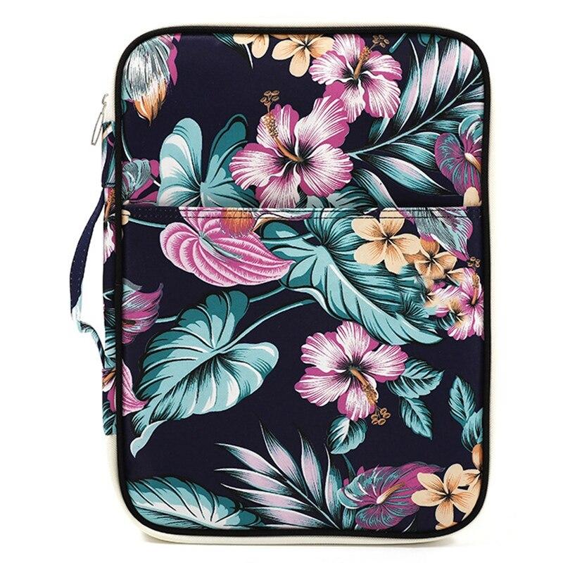 Flower Folder Multifunction A4 Bag Storage Bag Portable Tablet File Product Waterproof Nylon Storage Bag File Notebook Pen Com